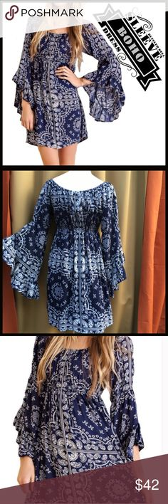 Bell Sleeve Dress ($ FIRM UNLESS BUNDLED-Retail) Navy and white ruffled bell sleeve dress. Hits above the knee. Figure flattering for almost any body type. Material: Cotton/Rayon blend, material does not have stretch. ($ FIRM UNLESS BUNDLED-Retail) Boutique  Dresses
