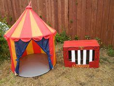 Carnival tent from Ikea; home-made (cardboard box) circus train cart.