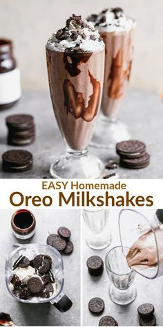 The contest for the best Oreo shake ends right here. This thick Oreo Milkshake is made with just 5 ingredients and it's a recipe everyone loves! Oreo Shake, Dessert Drinks, Yummy Drinks, Delicious Desserts, Yummy Food, Dessert Recipes, Cookies And Cream Milkshake, Thick Oreo Milkshake Recipe, Homemade Milkshake