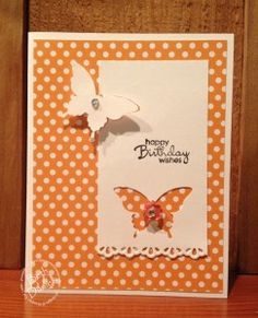 Beth's quick & easy card features Petite Pairs, Elegant Butterfly punch, Finishing Touches edgelits, & Bitty Buttons. Great design for various patterned papers.