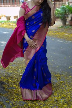 Ocean's blue with strawberry's pink banarasi saree - Only on order