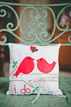 "Sweet ""I Do"" pillow - Real Wedding: Ariane and Andy's Afternoon Tea-Themed Wedding in New Zealand 