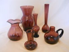 Lot of 6 Vintage Amethyst Vases by MaisondeQ on Etsy, $65.00
