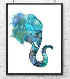 Elefante azul acuarela animales, Animal arte, decoración de la pared de inicio, imprimir acuarela arte - 182