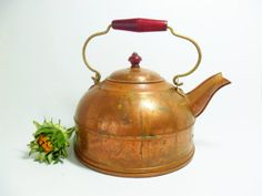 Tea Kettle Copper Tea Kettle Teapot Aged Rustic by TheVintagePorch, $26.00