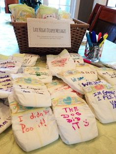 Avoid the dreaded baby shower games everyone hates. Here's an idea: Set up a station for guests to write late-night diaper messages. Fun, optional party activity that anyone can participate in.