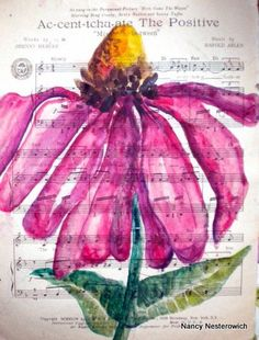 art on found canvas. {note to self: I think this would be fun using watercolors over music or dictionary page}