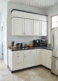 Black Baseboard Under Cabinets, From Sarahu0027s Big Idea.