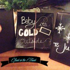 fun way to wrap packages - black paper with chalk marker / Junk in the Trunk Vintage Market