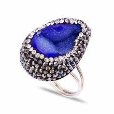 Unique Deep Blue Druzy Silver Ring