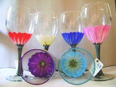 Gerber Daisy Wine Glass by DadsGlassGarden on Etsy, $22.00