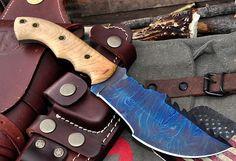 CFK USA Custom Handmade Color Patina Damascus Olive Wood Hunter Tracker Knife | eBay
