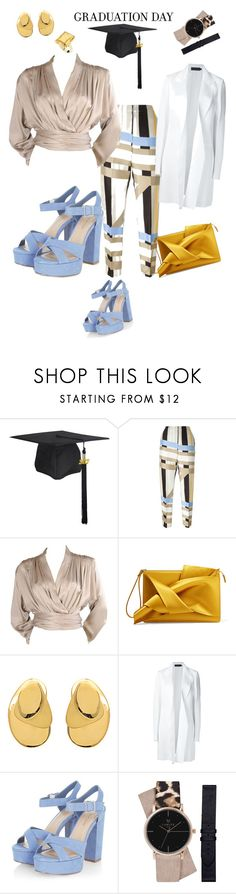 """""""Nude Yellow and blue combo Grad status #Graduation"""" by yetundestyles ❤ liked on Polyvore featuring MSGM, Yves Saint Laurent, N°21, Aurélie Bidermann, Calvin Klein Collection and StyleRocks"""