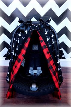 Black And White Deer Head Chevron RED PLAID FLANNEL Antlers Baby Carseat Canopy Outdoors Hunting