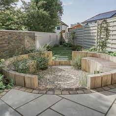 Wooden Garden Benches, Garden Seating, Back Gardens, Small Gardens, Outdoor Planters, Outdoor Gardens, Wine Barrel Garden, Stone Garden Paths, Garden Nook