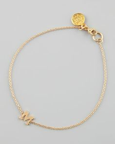 Gold Block Initial Bracelet by Zoe Chicco at Neiman Marcus.