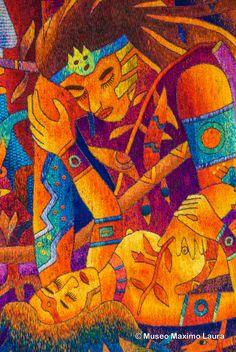 """Tapestry Detail: """"Lovers Seasons"""", 69 x 186 in. Hand woven Tapestry by Maximo Laura /// Detalle de Tapiz: """"Estaciones del Amante"""" 175 x 473 cm. Colección del Museo Máximo Laura /// More information at info@museomaximolaura.com or www.museomaximolaura.com"""