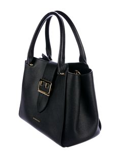 In Stores Now. Black Grainy leather Burberry Medium Buckle Tote with gold-tone hardware, dual rolled top handles, single detachable House check shoulder strap, protective feet at base, tan and multicolor House check lining, three ual interior pockets; one with zip closure and concealed magnetic closure at front strap with buckle embellishment. Includes box, dust bag and care booklet. Buy handbags online from Burberry at The RealReal.