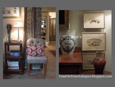 tone on tone antiques blog, visiting Robert Kime in England, love the chains holding the pictures, beautiful presentation.