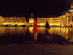 Place de la Bourse all lite up in Bordeaux, France.