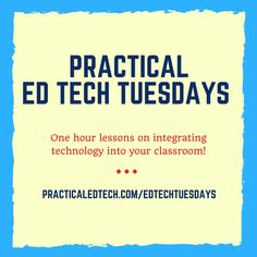 Practical Ed Tech Tuesdays is a series of one-hour webinars designed to give you practical ideas that you can use in your classroom right away. Each webinar will provide you with five concrete idea… Instructional Technology, Instructional Strategies, Educational Videos, Educational Technology, Technology Problems, Problem Based Learning, Formative Assessment, Flipped Classroom, Technology Integration