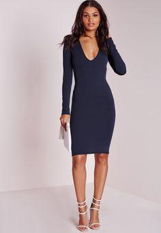Ponte Long Sleeve Plunge Midi Dress Navy - Dresses - Midi Dresses - Missguided