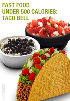 I love Taco Bell! Get the skinny on the Taco Bell menu. Low Calorie Fast Food, 500 Calorie Dinners, Healthy Fast Food Options, Dinners Under 500 Calories, Healthy Lunches For Work, Fast Healthy Meals, Healthy Choices, Healthy Snacks, Healthy Recipes
