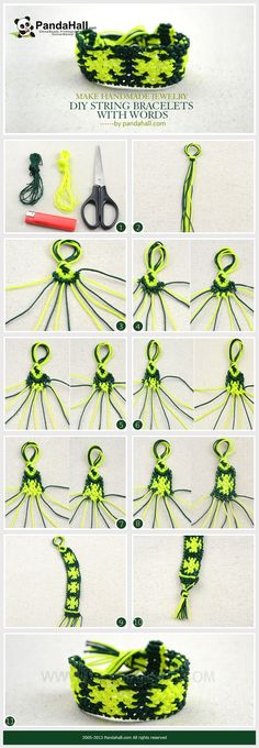 This DIY string bracelet with words tutorial shows you a clear way about how to braid a snowflake pattern out of two colored strings; remember that patience makes handmade jewelry perfect!