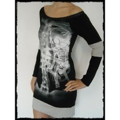Skeleton Shirt X-Ray Tunic Dress Off Shoulder Top Halloween Horror... ($52) ❤ liked on Polyvore featuring tops, tunics, grey, women's clothing, long sleeve tops, print shirts, gray long sleeve shirt, grey shirt and patterned shirts