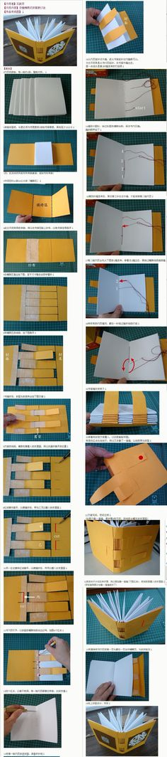 "Cross structure binding tutorial--took me embarrassingly long to figure out I needed to ""read"" the photos as top down columns, left then right. DIY book binding fascinates me, though."