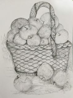 This basket full of Apples is done with 4B&10B pencils. #artbyamritatiwary