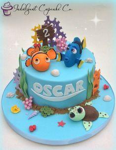 Inspiration Photo of Dory Birthday Cake Dory Birthday Cake Finding Nemo Cake Carter Nemo Nemo Finding Dory Birthday Cake, Finding Nemo Cake, Fondant Cakes, Cupcake Cakes, Cupcakes, Sirenita Cake, Dory Cake, Sea Cakes, Themed Birthday Cakes