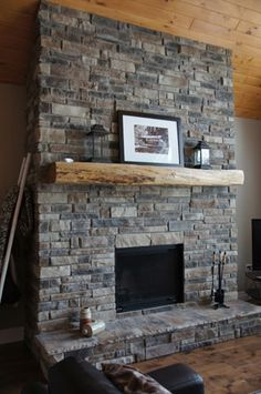 Welcome to StoneRox - - a superior, manufactured stone veneer. Our products are designed for both residential & commercial properties. Fireplace Gallery, Fireplace Stone, Manufactured Stone Veneer, Interior And Exterior, Interior Design, Great Rooms, Family Room, House, Basement Ideas