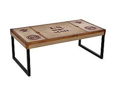 Tavolino in mango e metallo US Mail - 120x45x60 cm