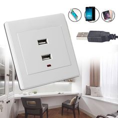 Dual USB Wall Socket Charger AC/DC Power Adapter Plug Outlet Plate Panel White