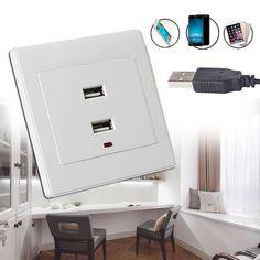 Cargador Dual USB Toma de corriente AC/DC Adaptador de Corriente Enchufe Placa de Salida Panel Blanco