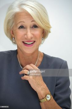 """Helen Mirren at the """"Trumbo"""" Press Conference at the Four Seasons Hotel on October 2015 in Beverly Hills, California. Get premium, high resolution news photos at Getty Images Hair Styles For Women Over 50, Short Hair Cuts For Women, Medium Hair Styles, Curly Hair Styles, Mom Hairstyles, Older Women Hairstyles, Short Bob Hairstyles, Ladies Hairstyles Over 50, Wedge Hairstyles"""