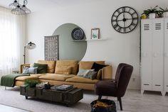 A Macramé Master's Organic Modern Dutch Home - Home Dekor Decor, Accent Wall Paint, Apartment Living, Apartment Painting, Ikea Sofa, Home, Room, Geometric Wall Paint, Living Room
