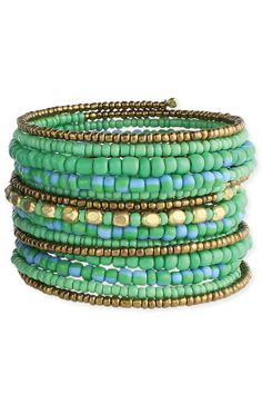 blues and greens and bronze, coil bracelet