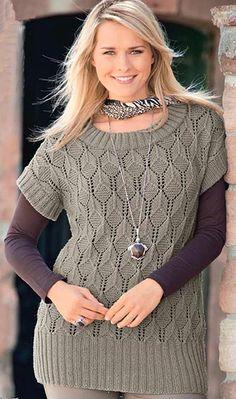 Ажурный пуловер. Модели для полных