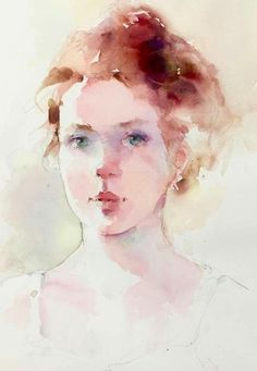 Janet Rogers is using a triad of: yellow, blue and red. Probably ultramarine, crimson and yellow (burnt sienna? Watercolor Portrait Tutorial, Watercolor Portrait Painting, Watercolor Face, Watercolor Artists, Watercolor Sketch, Watercolor Techniques, Portrait Art, Painting & Drawing, Painting People