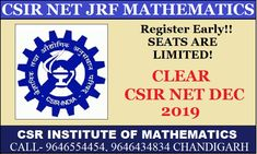 JOIN CSIR NET/JRF MATHEMATICS 2019 DECEMBER BATCH…REGISTRATION OPEN… Math Coach, Chandigarh, Maths, Mathematics, Coaching, December, Join, Student, Science