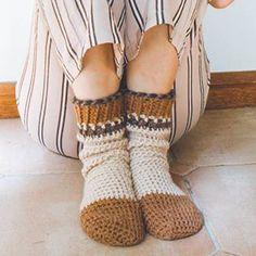 Brown Comfy Cuff Socks Crochet Pattern  Oooh these look like cozy crochet socks!