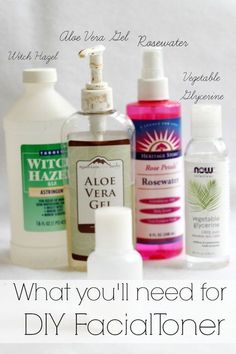 DIY Facial Toner is so much easier than you think. The ingredients are easy to find & when combined do wonders for your skin. Never buy another toner again! Toner For Face, Facial Cleanser, Skin Toner, Natural Face Cleanser, Moisturizer, Diy Skin Care, Skin Care Tips, Witch Hazel Toner, Aloe Vera Gel