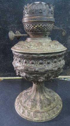 Antique Ornate spelter Kerosene table oil lamp Duplex Brass Burner Art Nouveau