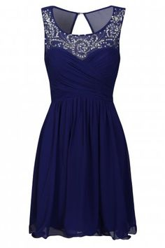 Little Mistress Cobalt Embellished Neckline Prom Dress