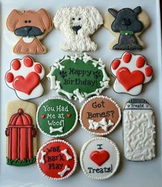 Dog Lover Birthday Cookies - Not Your Everyday Cookie Cat Cookies, Fancy Cookies, Royal Icing Cookies, Cookies Et Biscuits, Cupcake Cookies, Sugar Cookies, Dog Cupcakes, Iced Biscuits, Holiday Cookies