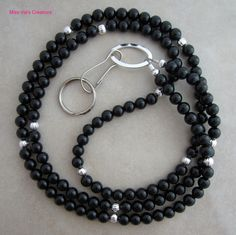 Black onyx and silver lanyard for your ID badge and more!