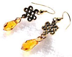 Celtic Honey Topaz drop earrings by jlisiecki on Etsy, $12.00