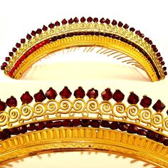 French vermeil and faux garnet diadem crown / hair comb tiara, dating to the early 1800s. Embellished in neoclassical motifs, a patterned frieze accented by faux garnet beading surmounted by a gallery of scrolling openwork crowned by faceted cut 'garnets'. Plated in a high carat of 18k to 22k gold.